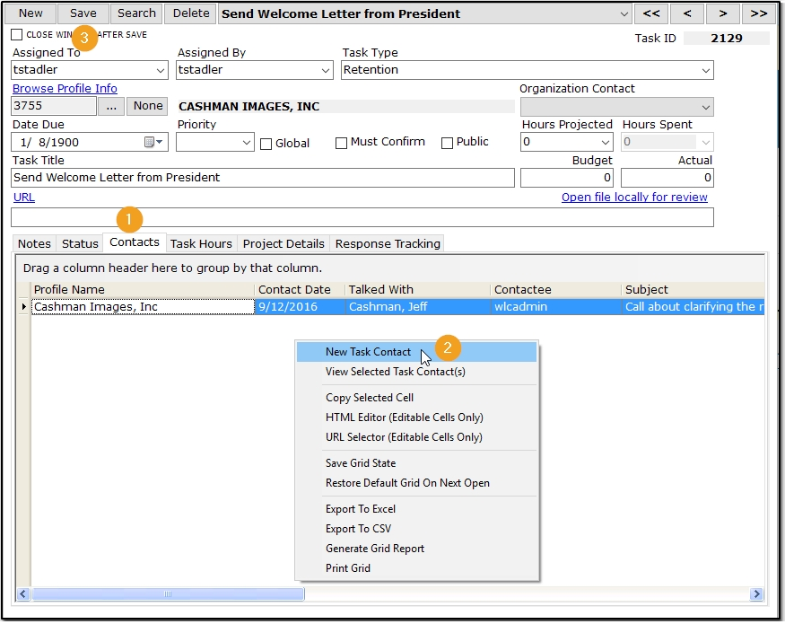 Create Contacts tied to a Task – Atlas